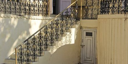 Old style railing painted black and gold.