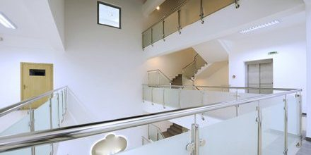 Open plan area with glass and metal balustrades